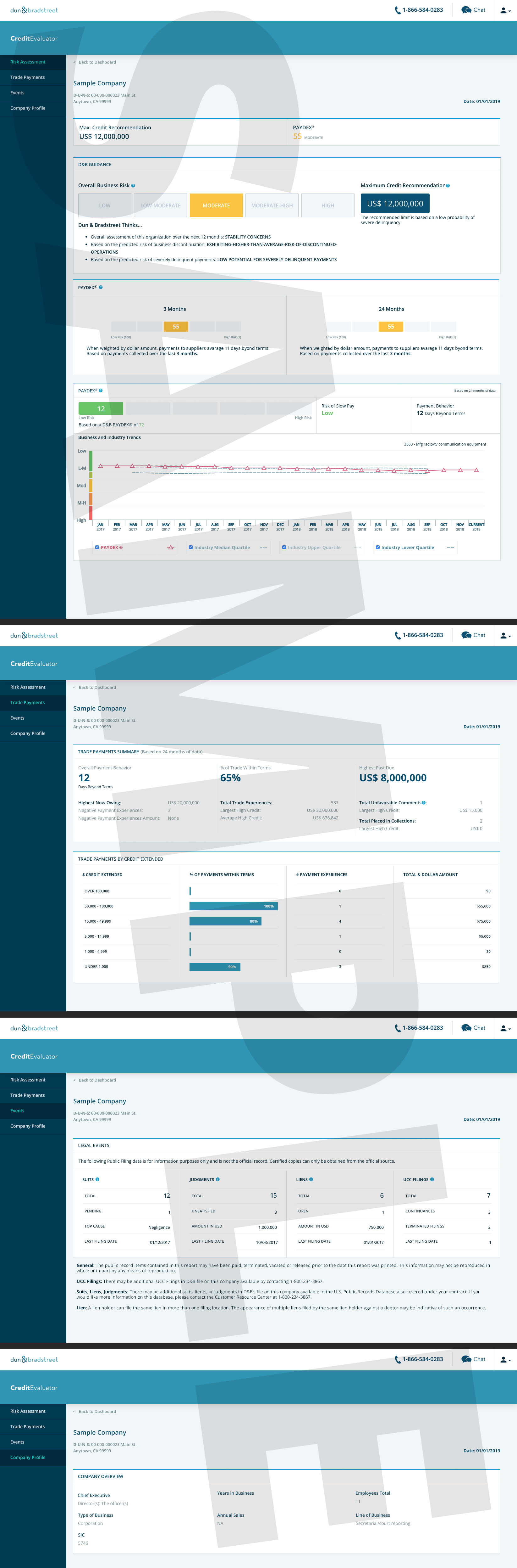 Credit Evaluator Plus report quickly helps determine a company's risk of late payment and identify how much credit to extend based on a company's D&B PAYDEX Score, D&B Maximum Credit Recommendation, and past payment behavior